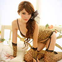 Lycra Sexy Babydoll breathable glove   stocking   T-back   camis printed leopard yellow Size:Free Size 10PCs/Lot