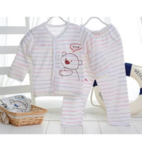 Cotton & Bamboo Fiber Baby Clothes Set, unisex & breathable, printed, striped, more colors for choice, Sold By Set