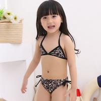 Spandex Girl Kids Swimming Bikini with swimming cap printed leopard black 5Sets/Lot