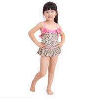 Nylon & Spandex Girl Kids One-piece Swimsuit with swimming cap leopard pink 5Sets/Lot Sold By Lot