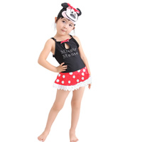Nylon & Polyester Girl Kids One-piece Swimsuit with swimming cap dot black 5Sets/Lot Sold By Lot