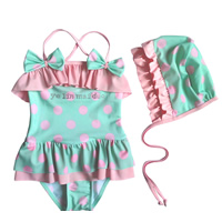Nylon Girl Kids One-piece Swimsuit with swimming cap dot 5Sets/Lot Sold By Lot