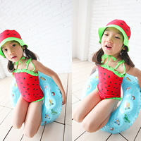 Nylon Girl Kids One-piece Swimsuit with swimming cap dot red 5Sets/Lot Sold By Lot
