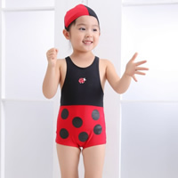 Nylon Boy Kids One-piece Swimsuit with swimming cap Cartoon red 5Sets/Lot Sold By Lot