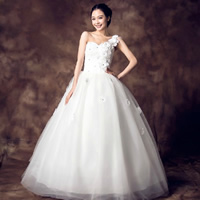 Gauze   Polyester Wedding Dress tube   Shoulder Solid white