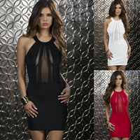 Polyester Halter Dress above knee   skinny style with Lace patchwork Size:Free Size