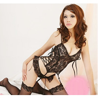 Lace Sexy Babydoll hollow   breathable   skinny style T-back   camis floral Size:Free Size 10PCs/Lot