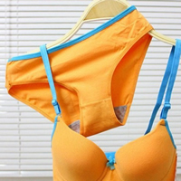3/4 cup Polyester & Cotton Bra and Panties Set, different size for choice & breathable & seamless, Solid, more colors for choice, 3Sets/Lot, Sold By Lot