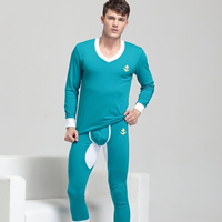 Spandex & Cotton Men Thermal Underwear Sets, different size for choice, knitted, Solid, more colors for choice, Sold By Set