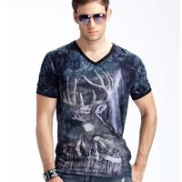 Polyester   Cotton Men Short Sleeve T-Shirt regular   breathable tie-dye animal prints 3PCs/Lot