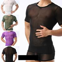 Nylon   Spandex Men Short Sleeve See-through T-shirt skinny   transparent Solid