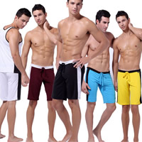 Spandex   Polyester Middle Waist Men Sports Pants loose   breathable Solid Sold By PC