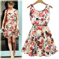 Chiffon   Polyester One-piece Dress above knee printed floral