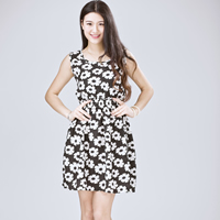 Chiffon   Polyester One-piece Dress above knee printed different color and pattern for choice