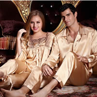 Imitation Silk Couple Winter Pajama Set, different size for choice & different styles for choice, Solid, gold, Sold By Set