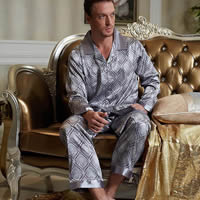 Imitation Silk Men Winter Pajama Set, different size for choice, printed, geometric, more colors for choice, Sold By Set