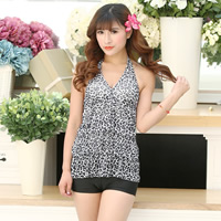 Nylon Tankinis Set two piece   breathable   padded printed leopard black Size:Free Size