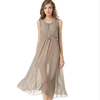 Chiffon   Polyester One-piece Dress mid-calf dot Sold By PC