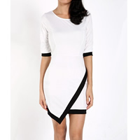 Polyester Asymmetrical Sexy Package Hip Dresses knee-length   skinny style Solid