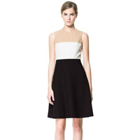 Polyester A-line One-piece Dress patchwork black