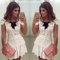 Lace   Polyester   Cotton Sexy One-piece Dress hollow   above knee   skinny style floral white