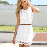 Lace   Polyester Sexy One-piece Dress hollow   above knee floral white