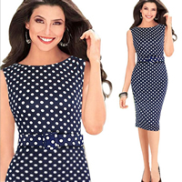 Spandex   Polyester   Cotton One-piece Dress above knee dot Sold By PC
