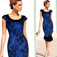 Polyester Asymmetrical One-piece Dress with Lace different color and pattern for choice