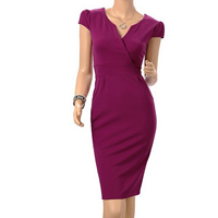 Polyester   Cotton One-piece Dress above knee Solid purple Sold By PC