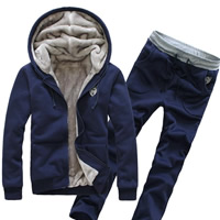 Polyester   Cotton Men Sportswear Set skinny   breathable with Velour Pants   coat Solid Sold By Set