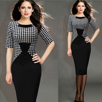 Polyester & Cotton One-piece Dress, different size for choice & above knee, geometric, black, Sold By PC
