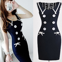 Spandex   Polyester   Cotton One-piece Dress above knee geometric deep blue