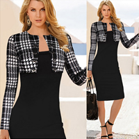 Polyester   Cotton One-piece Dress above knee plaid black
