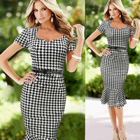 Polyester   Cotton Mermaid One-piece Dress with belt different color and pattern for choice