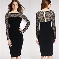 Polyester & Cotton One-piece Dress, different size for choice & above knee, with Lace, floral, black, Sold By PC