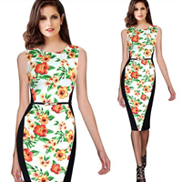 Polyester   Cotton One-piece Dress with belt   above knee floral white