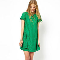 Nylon & Spandex One-piece Dress, different size for choice, with Lace, floral, more colors for choice, Sold By PC