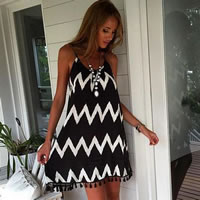Polyester & Cotton Beach Dress printed geometric black Sold By PC