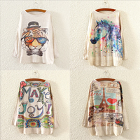 Rabbit Hair & Cotton Women Sweater, loose, different color and pattern for choice, Size:Free Size, Sold By PC