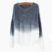 Mohair & Cotton Women Sweater, patchwork, more colors for choice, Size:Free Size, Sold By PC