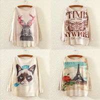 Cotton Women Sweater, loose, printed, different color and pattern for choice, Size:Free Size, Sold By PC