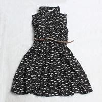 Rayon Pleated One-piece Dress with belt printed Cartoon black