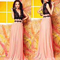 Lace   Polyester Long Evening Dress floor-length patchwork black and pink