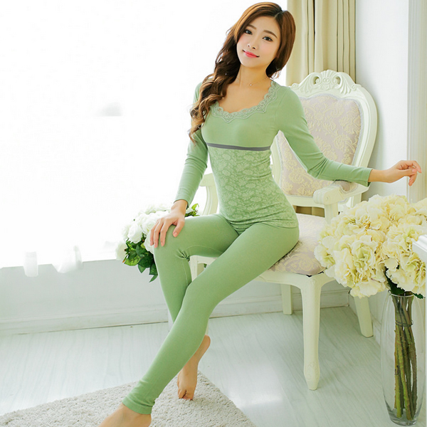 Nylon Spandex Cotton Women Thermal Underwear Sets with Lace floral ...