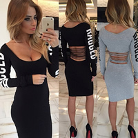 Cotton Sexy Package Hip Dresses, different size for choice & hollow, letter, more colors for choice, Sold By PC