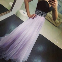 Polyester Long Evening Dress backless   off shoulder   floor-length   wrapped chest with Sequin patchwork purple