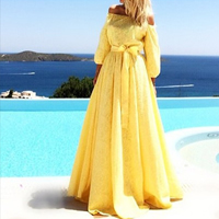 Lace   Polyester Long Evening Dress off shoulder Solid yellow