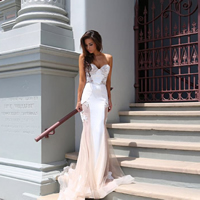 Lace   Polyester Long Evening Dress floor-length   hollow patchwork pink