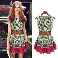 Polyester A-line One-piece Dress printed floral green Sold By PC