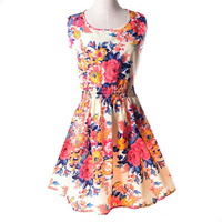 Chiffon   Polyester One-piece Dress printed different color and pattern for choice